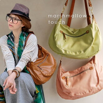 Feminine ingredients soft form shoulder over bags. In the handbag will also Pochette 2WAY specifications / diagonally over / leather bag / bag ladies ' / women's / commuting / ladies ◆ マシュマロフェイク leather 2-WAY shoulder bag