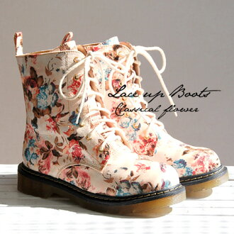 Sweet and classic floral dropped into work boots women's boots. Boots more than casually in sneakers than their presence. サイドジップ in undress wear fun Chin a 7 hole lace-up shoes / footwear ◆ ビートレースアップ short boots [flower]