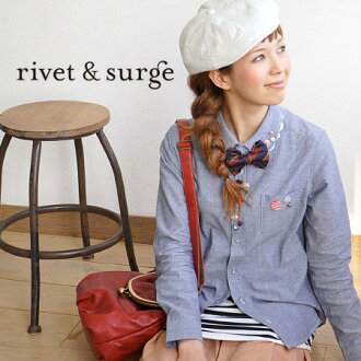 The remake-like lady's shirt which a great variety of ornamental buttons were attached to at random! As for the folded neckpiece of haori which became made with race and two pieces ◎ / haori / white shirt / plain fabric ◆ rivet and surge (rivet and serge