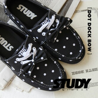 To black with white dot pattern deck shoes to detachable Ribbon ON! cut design by Manish CUTE, sneakers, women's, polka-dot pattern / JDM pattern /SS1214 ◆ STUDY (study) that DOT DOCK BOW