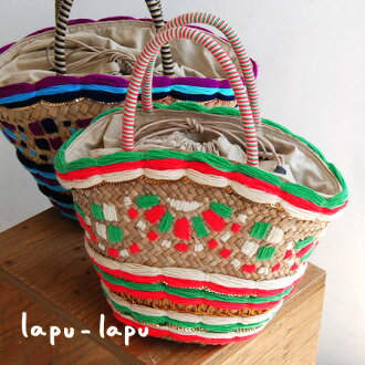 One side with colorful yarn and sequins tastefully designed bags. Fits A4 size capacity, ease of use excellent /BAG bag / satchel / tote bag / basket / natural material / storage bag with ◆ Lapu-Lapu Lapu-Lapu ( City ): カラフルサニーボーダーステッチカゴ bags
