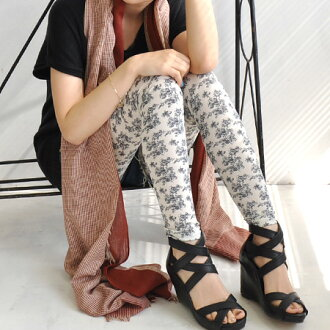 To the feet dressed in chic. Classy monotone rose pattern legging adult women's easy-to-use! Kimaru feet cool in touch with delicate アンティークフラワー pattern print • length / legwear / spats / rose / 10-◆ モノトーンローズレギンス
