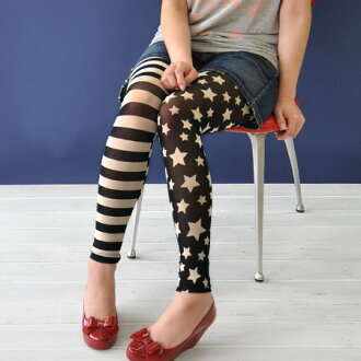 The individual star X horizontal stripes leggings that Star-Spangled Banner pattern finishes horizontal stripes, the left foot as for the right foot if patterned stars, both legs are prepared! / American / footwear / socks / stockings ◆ monotone USA flag