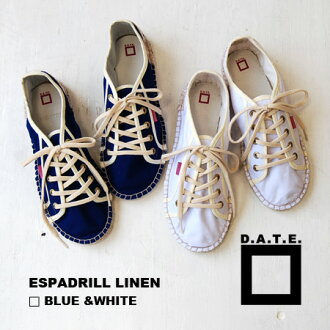 It is espadrille canvas sneakers in the casual resort style of adult. With the thing which it is simple in a step, and is good lightly. / flattie / jute sole / shoes / Lady's /sneakers ◆ D.A.T.E. (date): ESPADRILL LINEN