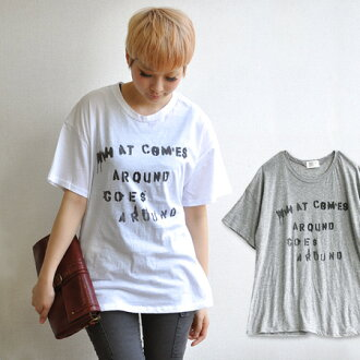 Mature sand drifting over sized letters printed Tee! Touch gripped ペンシルロゴ Tee / women's / drop shoulder / simple / women's / odd sleeves / solid / deformation of ◆ ステンシルロゴ print t-shirt