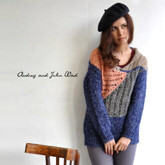 Rich colours woven loosely plenty of see-through, collared knitwear. Brushed feeling with plenty of warm mohair mixed neat setter / women's / long sleeve / 89730 ◆ Audrey and John Wad ( オードリーアンドジョンワッド ): watermark color block knit tunic