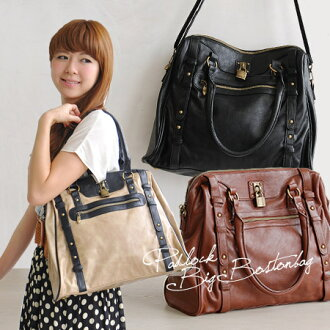 Boston-shoulder bag big long hard-to-editors ' bag style! ready to even obliquely, to commute recommended ◎ / diagonally over the bag/bag / bags / leather / combicolors/bicolor/two tone ◆ special! Padlock 2-WAY Boston bag [large]