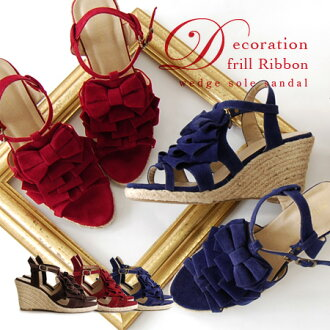 That decorative frills pumps peep toe design strap sandals! In adults, freshness and color classic and espadrille MIX / shoes / footwear ◆ decolephrillibontjeutwedgesole sandals