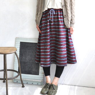 Warm soft brushed wool mix skirt. フォークロアカジュアル and Tyrolean tape pocket and colorful laces A line knee-length skirt and border pattern / knee-length and knee-length ◆ ウォームマルチボーダーミディ skirt