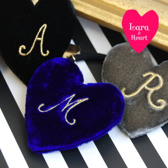 Lady's ◆ Lara & Heart (LARA and heart) most suitable for heart-shaped hair accessories ♪ present which I embroidered the alphabet letting you feel さを especially only for me on: Velvet initial heart hair rubber [gold italics]