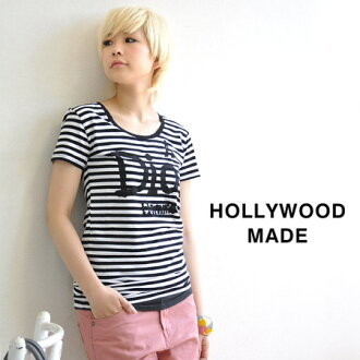 "Border pattern printed boldly in a rough touch ""A Dios Homme"" message logo Tee. Tight, silhouettes in cool wear ◎ / short sleeve shirt /HWM-W 12230RT-2 ◆ HOLLYWOOD MADE ( ハリウッドメイド ) arsed EASY ADIOS RT! T shirt"