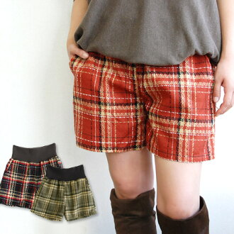 Shorts made checks cloth fabric makes us feel the depth. Its loose knits specifications such as stomach band around the hem of a light movement ◎ / short-length women ◆ changes weave check WestLB culotte panties