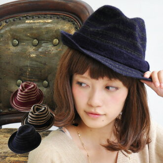 The soft cap which I prepared with the tender wool knit which I raised softly. The knit hat /HAT ◆ horizontal stripe wool knit soft felt hat hat where is recommended in adult-style with chic calm horizontal stripes casually