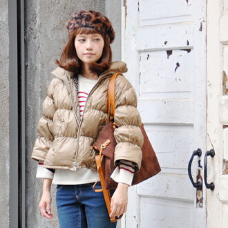 The down blouson which was sewed in A-line like the ♪ woman fresh shortish length. Jacket ◆ is special for 70% of down, light, warm real down outer / plain fabric / Lady's / three-quarter sleeves /7 of 30% of feathers in sleeve / spring! Inside dot short