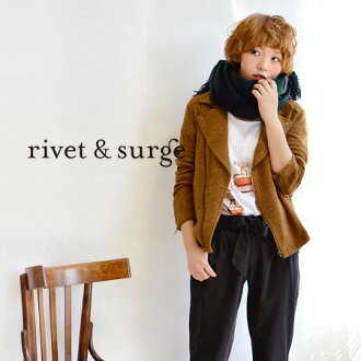 Nit saw material day getting lumps riders blouson worn with Cardigan sense. Hard because just at the beginner's recommended! / Women's / long sleeve / outerwear / coat / short-length ◆ rivet and surge (rivet & surge): nit Sauri jacket