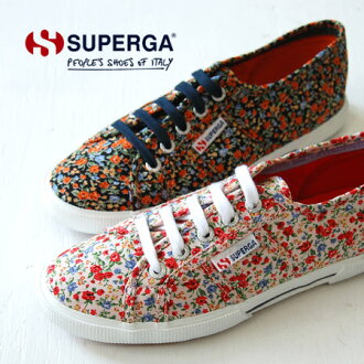 General women's shoes designed with small floral print fabric. Thick sole and excellent fit etc. Experience the comfort of the SUPERGA was calculated! / Import / shoe /S006APO / rose / rose ◆ SUPERGA ( Superga ) フラワーロー sneaker