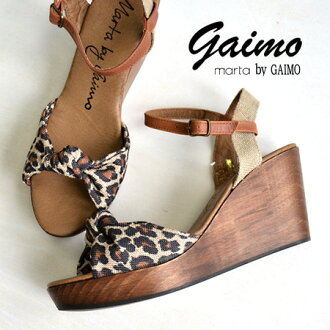 Importo edge sandal in Leopard pattern leather tied the Ribbon-shaped upper design. With a strap belt / shoes / ladies ◆ marta by GAIMO (martabigaimo):M-NURIA-P leopardcanvasribonwedgsawl sandals