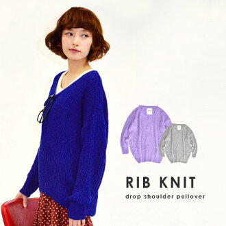 Gave the knitting table and backfire and alternating expressive 'Ridge knit' knit sweater. Keywords for this season to be 'color' also boasts ♪ width wide tunic / long sleeve / spring knitwear ◆ ribbing crochet モヘアタッチニットドロップショルダープル over
