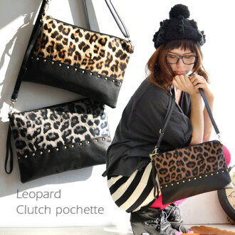 Accent was studded, Leopard print x solid transition design. Without gussets Chair clearly in square type clutch bag and also as a shoulder bag ◎ / women's / diagonal hung diagonally over bag/bag/pouch ◆ Leopard 2-WAY clutch Pochette