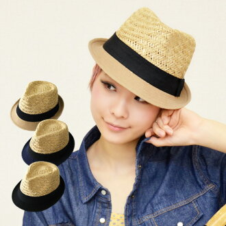Caps & hats brim part is switched in hemp canvas material, unique color scheme design. Natural materials and straw hat wind stability and a silhouette of the strength and firmness of women's / Tan awnings ◆ バイカラーリネンブリム × seagrass Hat
