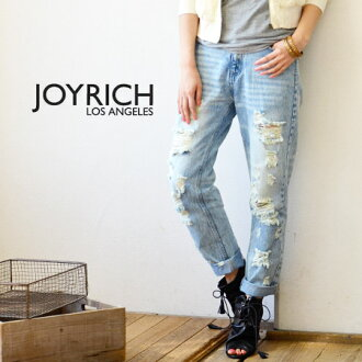 Bold damage denim underwear available from blue and white. Crash and silhouette ◎ / jeans / jeans /G Bakery / white denim / Lady's /FEMME/JOY-F1315PT ◆ JOY RICH (Joey Rich) Distressed Pant which are feminine though I am sloppy