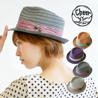 Refreshing pop Manish HAT border print fabric is decorated all around! Colorful, pierced 4 colors can be used in the color development / women's / straw hat wind / straw hat style Tan / awning stripe ◆ cheer ( cheer ) アンダリマリンボーダー Ribbon Hat