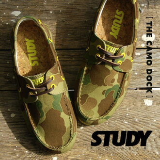 The camouflage pattern deck shoes that Shoo race of the leather accentuated. A low-frequency cut design is mannish; CUTE. / sneakers / Lady's / camouflage pattern / military pattern / army pattern /STY SS2302 ◆ STUDY (study) THE CAMO DOCK with the in heel