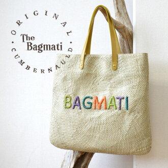 Raised braided raffia light and supple body, three-dimensional logo & colorful embroidered bigoted. To hold leather use / basket bag /BAG / shoulder / basket bag ◆ BAGMATI ( バグマティー ) :BAGMATI logo embroidered raffia BIG tote bag