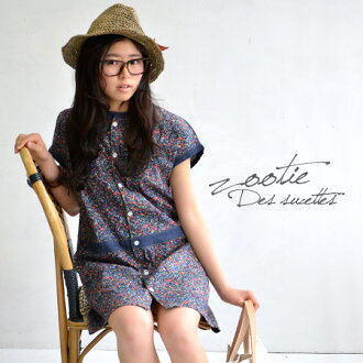 A springlike dress of the small floral design fabric X RIGHT-ON's denim. By an unhurried low waist change Yul めの atmosphere ◎ short sleeves knee-length Lady's adult ◆ zootie (zoo tea): Flower X light denim dolman shirt-dress