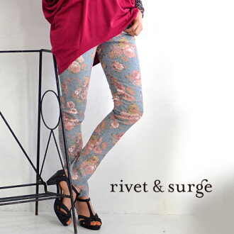 Adult flower pattern code to become familiar with Slim pants. It feel like leggings pants with comfortable elastic along leg ♪ and tight pants and rose ◆ rivet and surge ( rivet & surge ): アンティークローズプリントストレッチスキニー pants