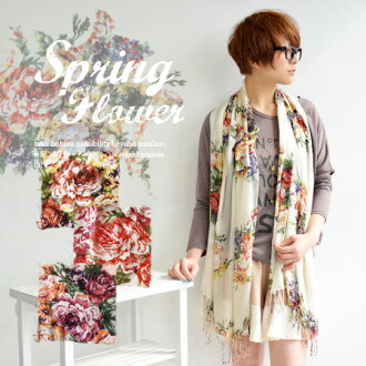 The light stall that bold floral design was described in while enjoying a blank. The fashion mail order Rakuten ◆ chateau flower rayon gauze stall that has a cute ◎ rolled draperyware accessory Lady's for UV, ultraviolet rays measures and heat and cold m