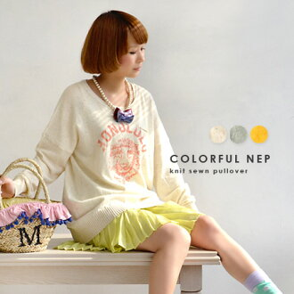 Photono over painted with paint print faded logo casual like アメカジスウェット. Flecked with sheer, soft cotton knit cut so / long sleeve / women's / tunic ◆ HONOLULU カレッジプリントカラフルネップコットンニットソー