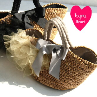 / nature material /BAG/fs3gm ◆ Lara & Heart (LARA and heart) Tulle basket bag [L] as for the LARA & heart new work Maize basket bag ♪ big ribbon which a tutu race is asymmetric, and was performed the decorations of like a corsage belonging to clo