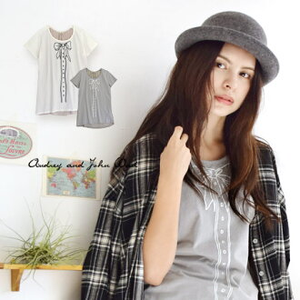 Of the pretty ribbon deceive; picture print short sleeves T-shirt cut-and-sew X different fabrics MIX/ Lady's Tee ◆ Audrey and John Wad (オードリーアンドジョンワッド): Trompe l'oeil bow tie ribbon T-shirt