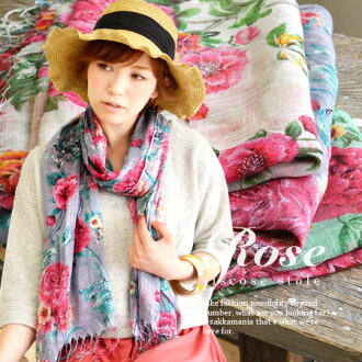 Large floral lights stalls depicted in the paintings touch! Good lather and & breathable produce maximum volume roughly viscose rayon material and UV protection/UV protection ◆ トラディショナルフラワー lights scarf