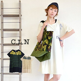 The knee-length T dress which left it, and printed a pattern to cotton hemp T-cloth cloth to lend. / flower pattern Tee/ big Tee/ knee-length / ナチュカジ ◆ C.L.N (sea L N) which I am relaxed in width of the body relaxedly and can dress well: Print cotton lin