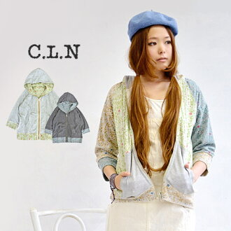 Floral patterns printed on the back hair, plain sweatshirts x enjoy floral pile two-sided reversible design's parka / outerwear / coat / ladies / 7-sleeve and three-quarter sleeves ◆ C.L.N( シーエルエヌ ): フラワーパイルリバーシブルスウェットジップアップパーカー
