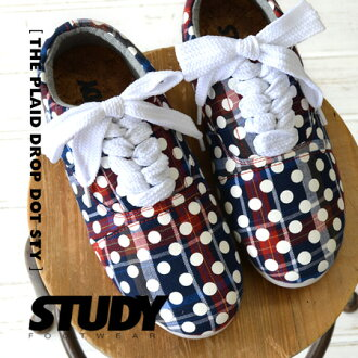 The whole pattern Oxford shoes of the tartan checked pattern X waterdrop print. FW1316 ◆ STUDY (study) THE PLAID DROP DOT with the shoelace charge account 2WAY low-frequency cut sneakers race up in heel which changes it, and is possible