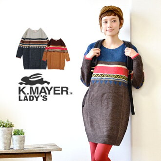 Includes shine somewhere retro POP colors, geometric patterns. Can feel free to wearing in the relaxed silhouette width is around the sleeves and ladies ' ◆ KRIFF MAYER ( cliffmeyer ): ジオメトリージャガードニットドロップショルダーワン piece