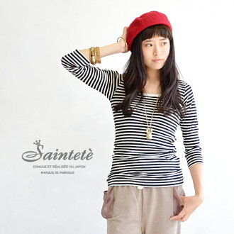 You can launder at home cashmere mixed round neck high-quality 7-Sleeve Tee. もたつかない sizing and can't afford the extra long length is easy to use. / Ron Tee ◆ Saintete ( サンテテ ): cotton カシミヤボーダーフ rice seven minutes sewn