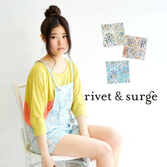 Pedicels combinaison of pale colours. In unlined sheer shirt in hot days also comfort / オーバーオール / all-in-one ◆ rivet and surge ( rivet & surge ): ハルディンフラワーサロペット shorts