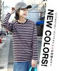 It is usable during cut-and-sew M/L/LL one year and is used to both the leading role and sub! Basic Ron Tee! Lady's tops long sleeves horizontal stripe cotton cotton spring and summer winter ◆ zootie (zoo tea): College horizontal stripe round neckline cu