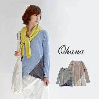 Different material MIX sewn back polka-dot pattern was switched to angle front. In sheer fabrics worked out Inn ♪ / long sleeves and tunic-length / Ron Tee and long ◆ ohana ( Ohana ): ドットテールスラブカットソーチュニック