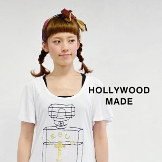 Print foil logo with hand-drawn touch perfume. Enjoy in the beautiful curve that refreshing flare sleeves Tee! / women's HWM-W13239DT ◆ HOLLYWOOD MADE ( ハリウッドメイド ) arsed PERFUME DT! T shirt