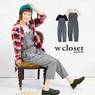 The chest change of the raise of wages top style is POINT! Checked pattern combinaison / short sleeves / salopette / waist rubber /fs3gm ◆ w closet (double closet) of the fake lei yard design which seems to wear clothes one over another: Bustier reshuffl