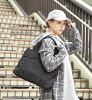 Large-capacity lady's bag shawl shoulder cliff light weight size grain A4 side pocket cloth plain fabric ◆ MIMIMEMETE (ミミメメット) with the commuting attending school editors bag fastener: Kiltie square tote bag [standard]