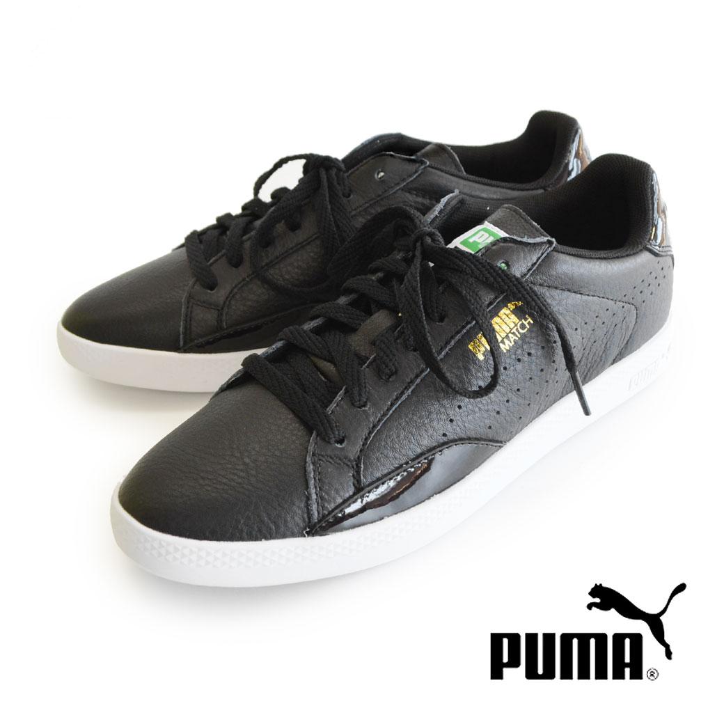 スニーカー 1960年代に登場した テニススタイル スニーカー MATCH 74 の復刻版 マッチロウ! レディース 靴 運動靴 トーナルカラー シンプル 白 黒 ブラック マッチロー 大きいサイズ◆PUMA(プーマ)match lo BLACK AND WHITE