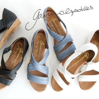 交叉吊带楔子鞋底凉鞋女士鞋鞋鞋跟书皮革黑白夏天◆Espadrille by GAIMO(麻底帆布鞋经由蛾芋):NUNCA-EL-DE交叉皮革麻底帆布鞋凉鞋