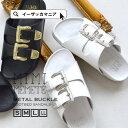 サンダル/重量感のあるバックルで ハードめにデザインされた ベルトサンダル。レディース 靴 シューズ コンフォートシ…