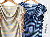 The horizontal stripe T-shirt that cut-and-sew / frill covers the shoulder. Lady's sleeveless cotton cotton mixing blend ◆ zootie (zoo tea): Drape neck frill sleeve horizontal stripe pullover
